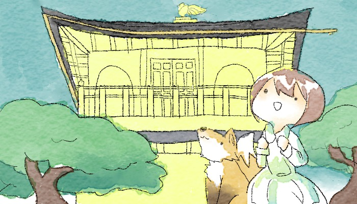 金閣寺へ行く葵とマッチャ