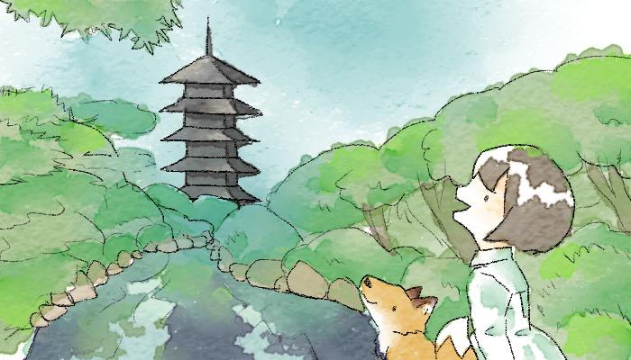 東寺へ行く葵とマッチャ