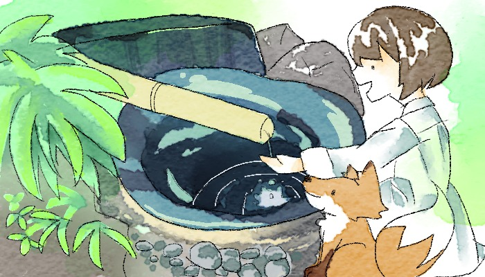 八坂神社へ行く葵とマッチャ