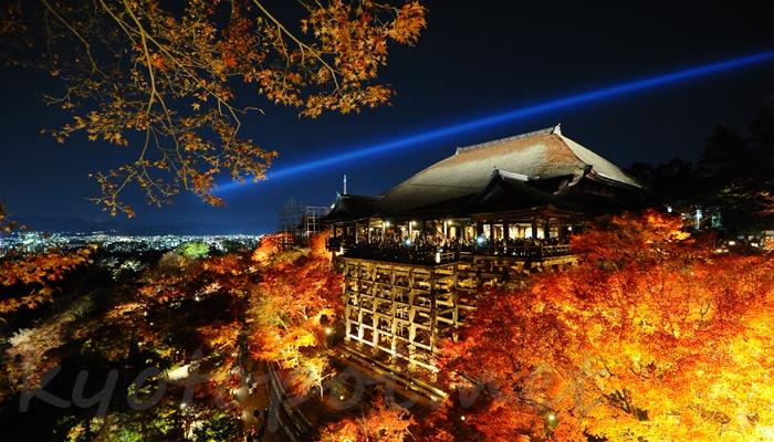 清水寺の本堂(舞台)と紅葉ライトアップ