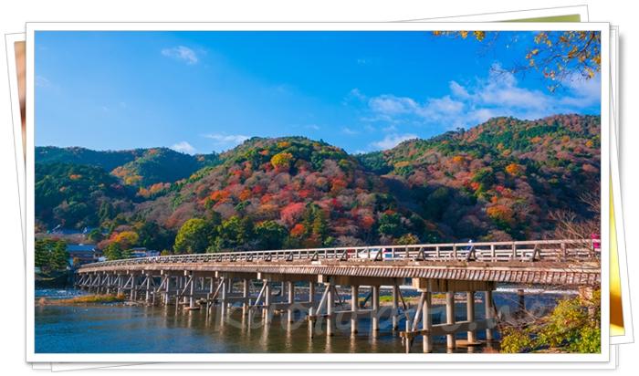 京都 嵐山の渡月橋と紅葉