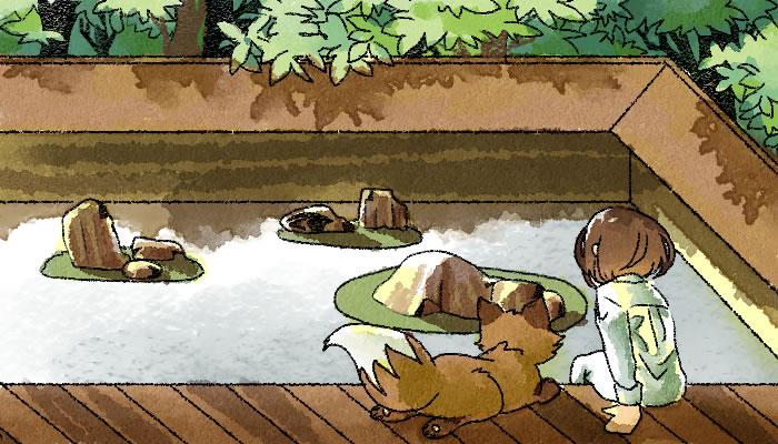 龍安寺の石庭を眺める葵とマッチャ