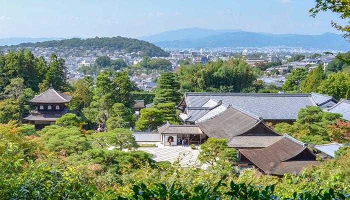 京都の世界遺産 銀閣寺(東山慈照寺)の高台からの景色