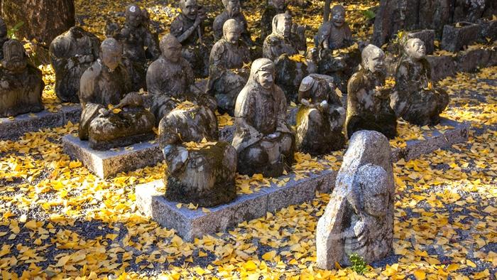赤山禅院 十六羅漢の石仏群