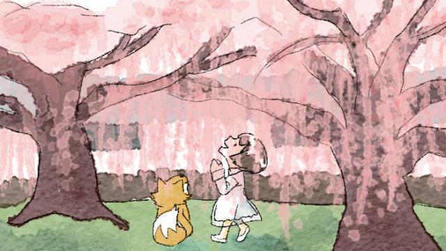 仁和寺の桜の木の下で佇む葵とマッチャ