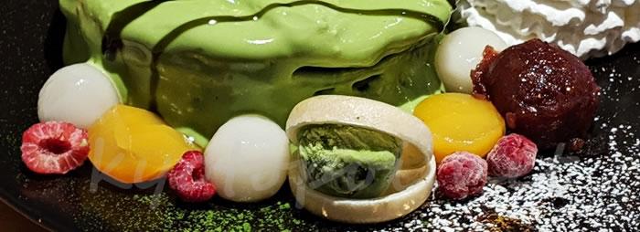 エッグスンシングス京都四条店限定の抹茶パンケーキのトッピング