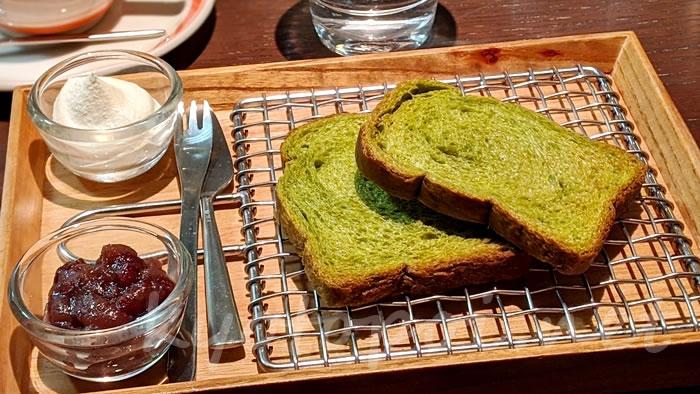 京都駅 フクナガ901のモーニング「抹茶トーストプレート」