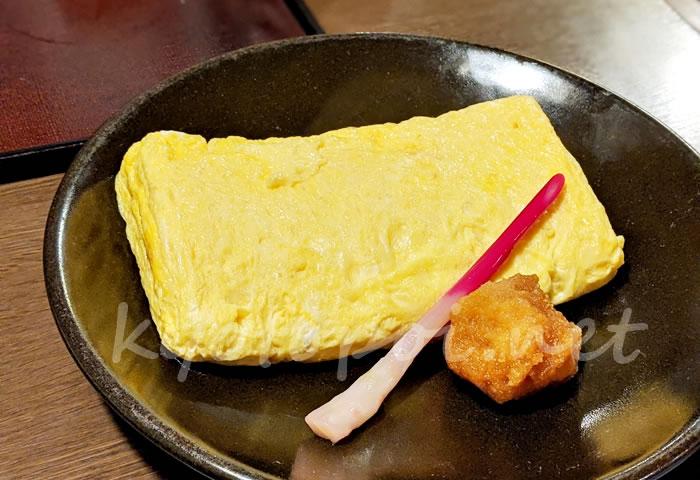京都の蕎麦屋 本家田毎のだし巻き