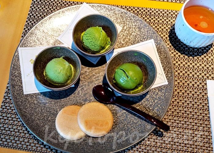 福寿園京都本店 京の茶寮「濃茶アイスの盛り合わせ」