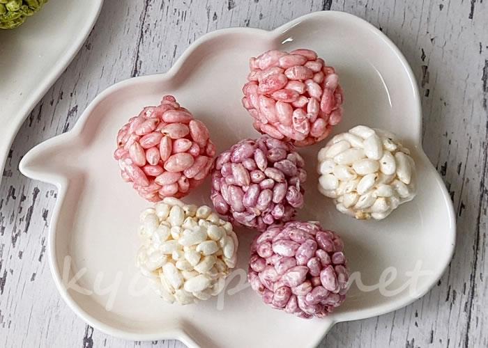 京都のわたがし屋zarameのオシャレなポン菓子「てまりポン 紅鞠」